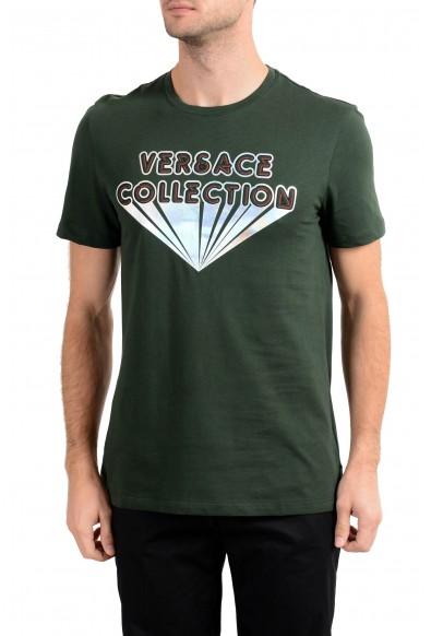 Versace Collection Men's Green Graphic Crewneck T-Shirt