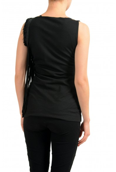 Dsquared2 Wool Leather Fringes Decorated Black Women's Blouse Top: Picture 2