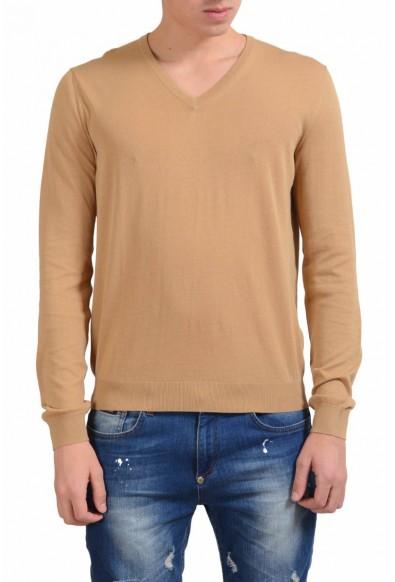 Malo Men's Bronze Brown V-Neck Light Sweater