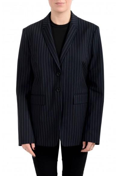 "Hugo Boss Women's ""Junka"" Blue Striped Two Button Blazer"