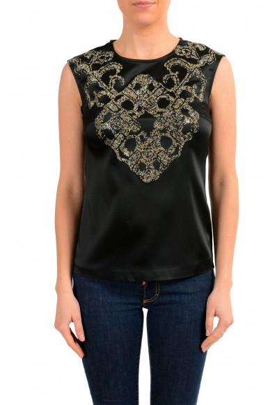 Versace Versus Women's Black Embellished Sleeveless Blouse Top
