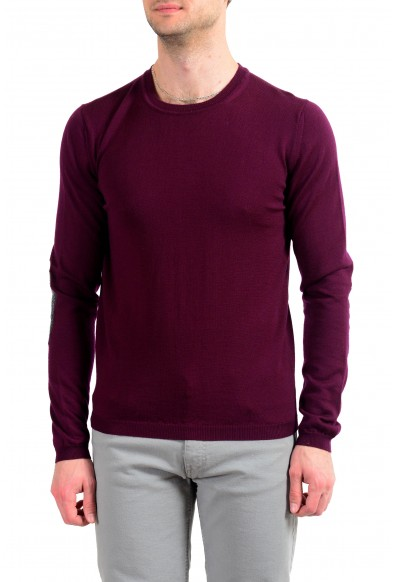 Just Cavalli Men's 100% Wool Burgundy Crewneck Sweater