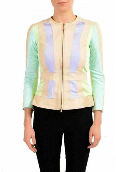 Just Cavalli 100% Leather Trim Multi-Color Women's Basic Jacket