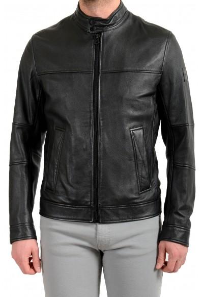 """Hugo Boss Men's """"Josep"""" 100% Leather Black Bomber Jacket"""