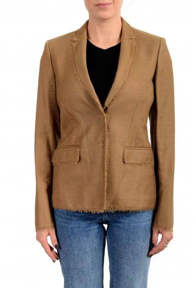 Versace Women's Sand Brown Silk Two Button Blazer Jacket