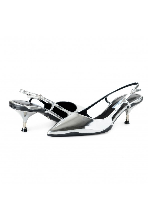 Prada Women's IT261L Silver Leather Slingbacks Pumps Shoes: Picture 7