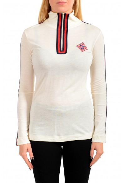 Just Cavalli Women's Wool Beige Long Sleeve 1/3 Zip Shirt Top