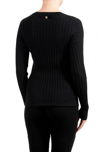 Versace Women's Black 100% Wool Stretch V-Neck Sweater: Picture 2