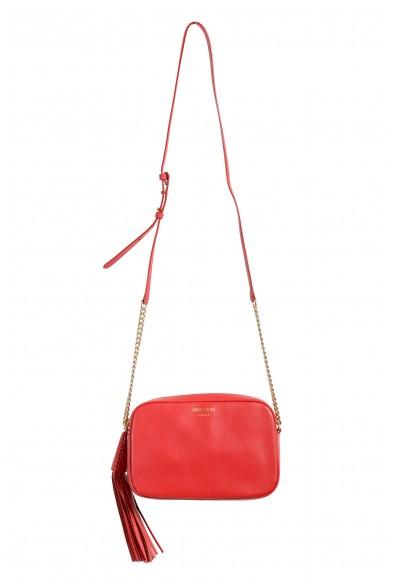 "Jimmy Choo Women's Red Leather ""Athini"" Camera Shoulder Crossbody Bag"