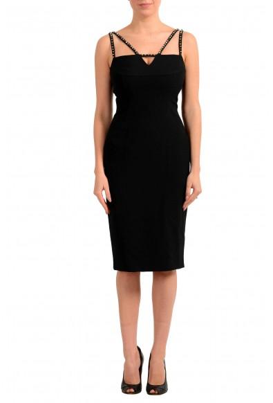 Versace Collection Women's Black Metal Studs Bodycon Mini Dress