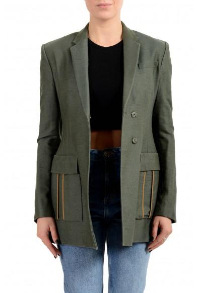 Versace Women's Green Silk Two Button Blazer Jacket
