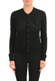 Dsquared2 Women's 100% Wool Black Light Cardigan Sweater