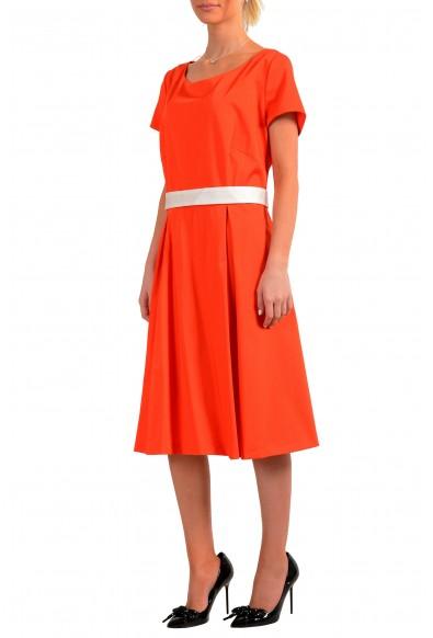 "Hugo Boss Women's ""Dalene"" Orange Belted Fit & Flare Dress: Picture 2"