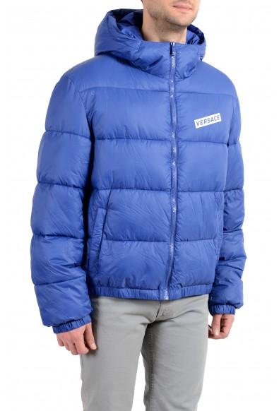 Versace Men's Blue Logo Full Zip Hooded Parka Jacket : Picture 2