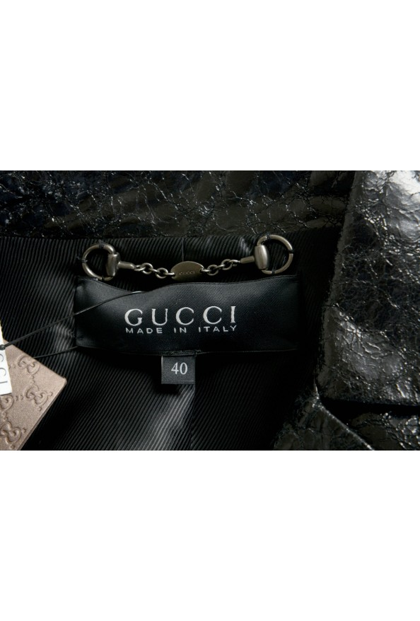 Gucci 100% Leather Black Double Breasted Women's Blazer: Picture 5