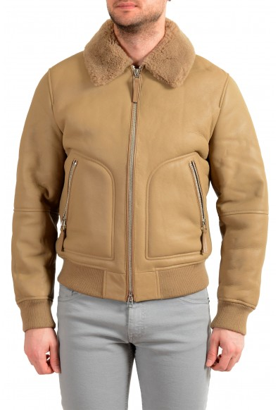 "Hugo Boss Men's ""T-Cetlo"" 100% Leather Beige Shearling Bomber Jacket"