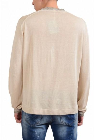 Malo Beige Men's Silk Linen V-Neck Light Sweater: Picture 2