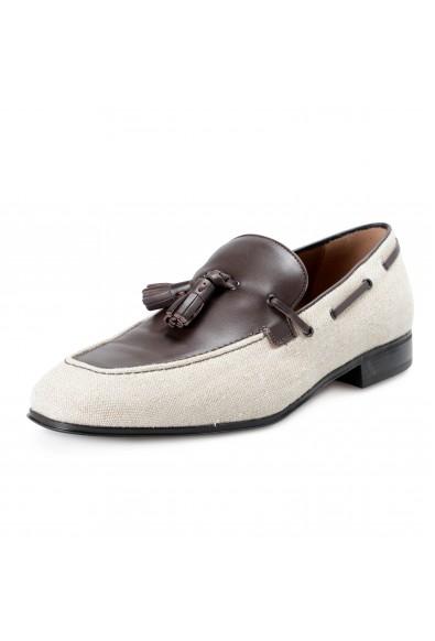 Salvatore Ferragamo Men's FAGGIO 4 Beige Canvas Leather Penny Loafers Shoes
