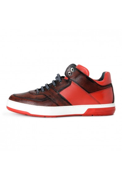 "Salvatore Ferragamo Men's ""Monroe"" Red Leather Fashion Sneakers Shoes: Picture 2"