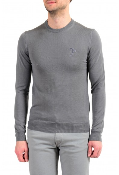 Versace Collection Men's Gray 100% Wool Crewneck Pullover Sweater
