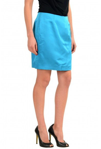 Versace 100% Silk Blue Women's Straight Skirt: Picture 2
