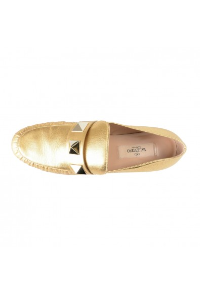 Valentino Garavani Women's Gold Leather Loafers Slip On Flats Shoes: Picture 2