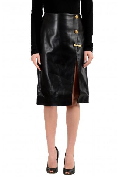 Versace Women's 100% Leather Black Pencil Skirt