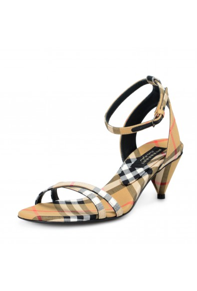 Burberry London Women's HANSEL Checkered Ankle Strap Heeled Sandals Shoes