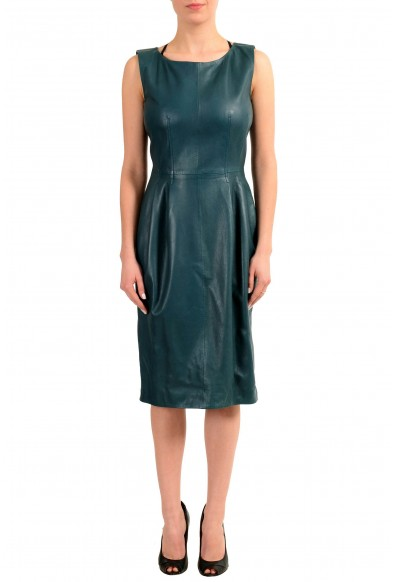 Gucci 100% Leather Sleeveless Women's Sheath Dress