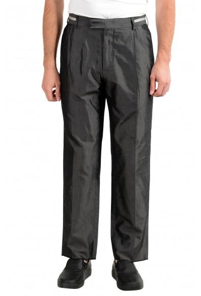Versace Men's 100% Silk Gray Pleated Dress Pants