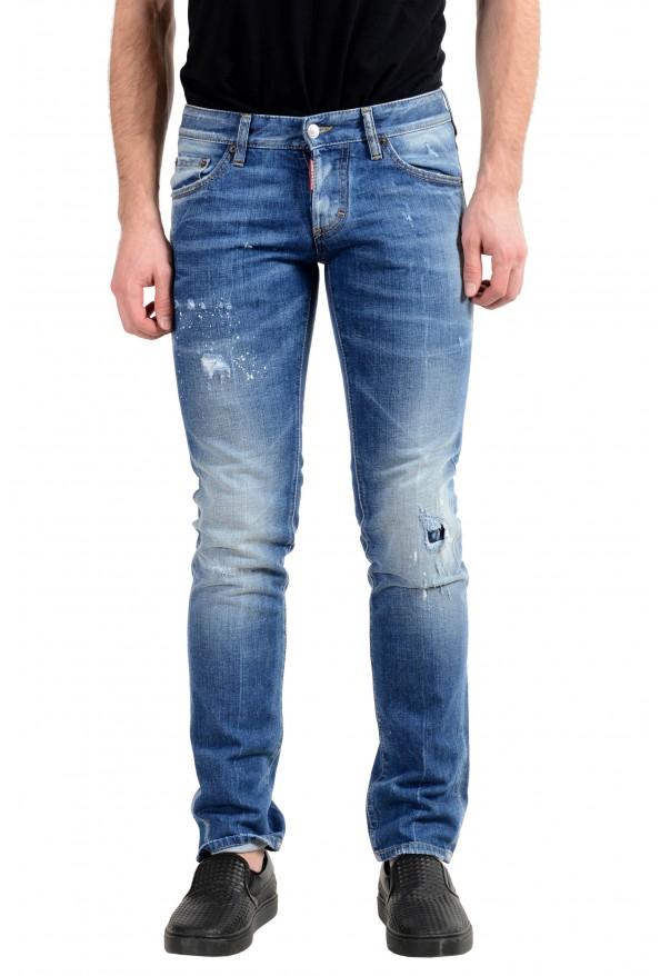 "Dsquared2 ""Slim Jean"" Men's Blue Stretch Ripped Skinny Jeans"