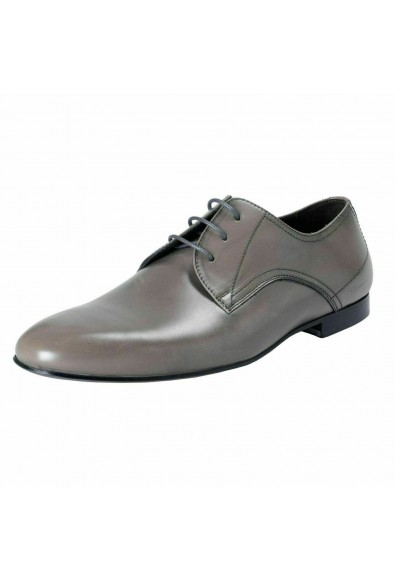 A. Testoni Basic Men's Leather Gray Lace Up Oxfords Shoes