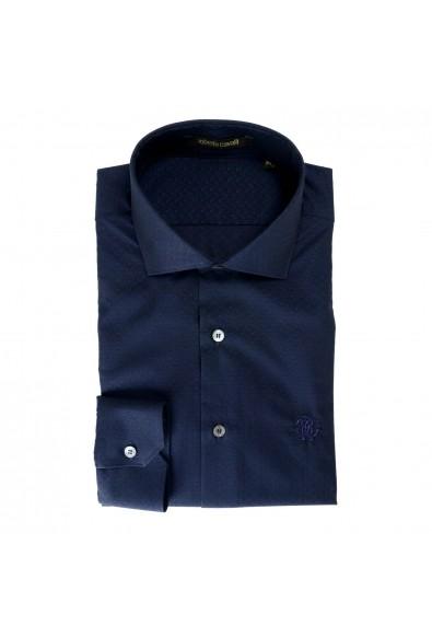 Roberto Cavalli Men's Navy Blue Slim Long Sleeve Dress Shirt