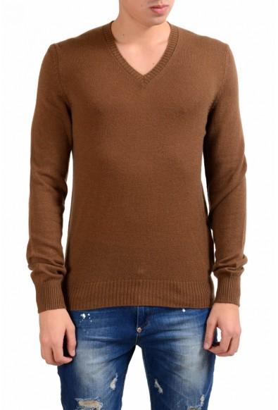 Prada Men's 100% Cashmere Brown V-Neck Sweater