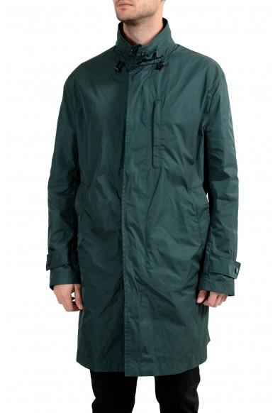 "Hugo Boss ""Clais"" Men's Green Full Zip Hooded Windbreaker Coat"