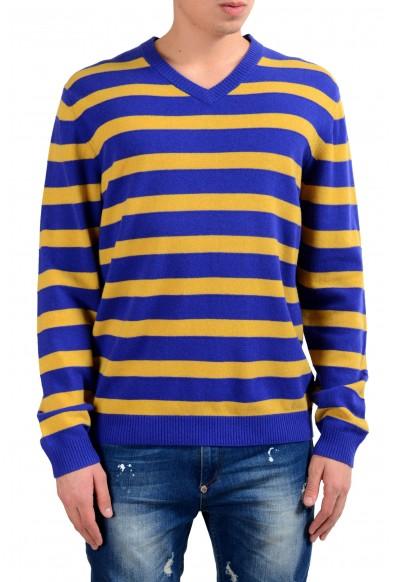 "Hugo Boss ""Maceo"" Men's 100% Wool Regular Fit V-Neck Striped Sweater"