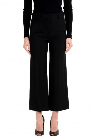 Versace Women's 100% Silk Black Cropped Wide Leg Pants