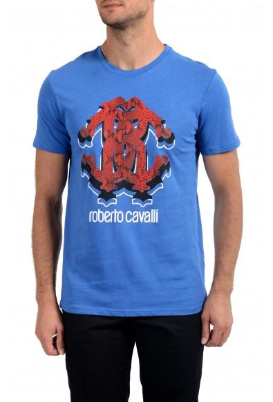 Roberto Cavalli Men's Royal Blue Graphic Print Crewneck T-Shirt
