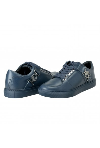 Versace Collection Men's Blue Leather Fashion Sneakers Shoes: Picture 2