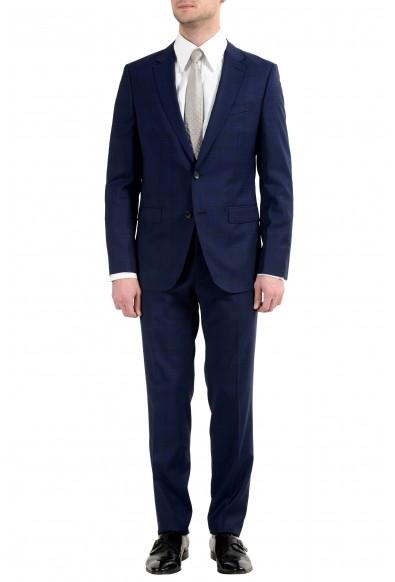 """Hugo Boss """"Novan5/Ben2"""" Men's 100% Wool Slim Blue Plaid Two Button Suit"""
