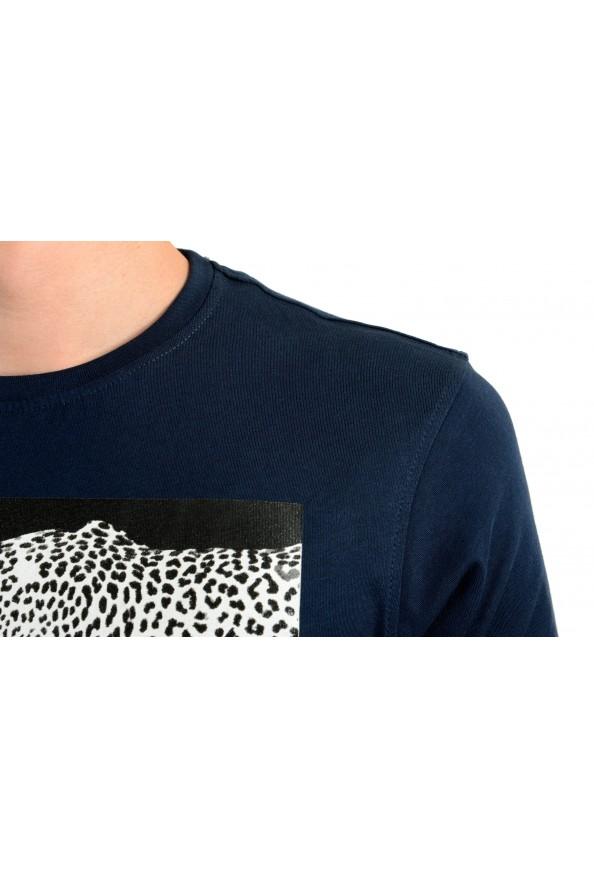 Roberto Cavalli Men's Blue Graphic Print Leopard T-Shirt: Picture 4