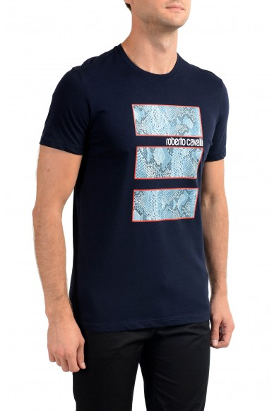 Roberto Cavalli Men's Navy Blue Graphic Print T-Shirt: Picture 2