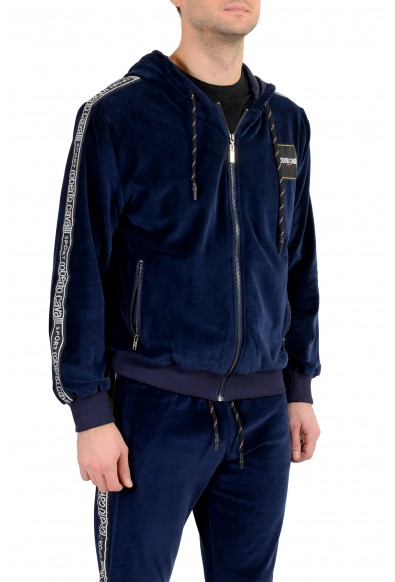 "Roberto Cavalli ""Sport"" Men's Blue Velour Hooded Full Zip Track Suit: Picture 2"