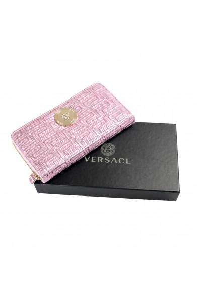 Versace Women's Sparkle Pink 100% Leather Medusa Embellished Zip Around Wallet