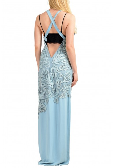 Versace Women's Blue Silk Leather Open Back Embellished Evening Dress: Picture 2
