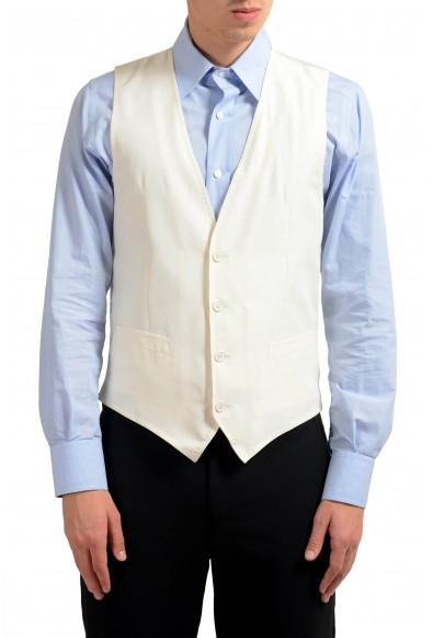 Dolce & Gabbana Men's 100% Silk White Button Up Dress Vest