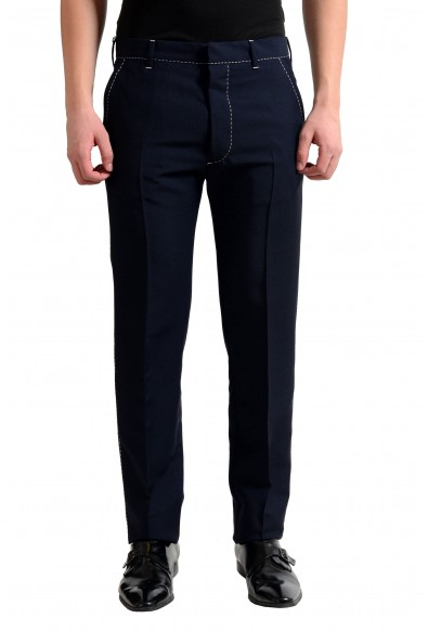 Prada Men's Wool Blue Flat Front Dress Pants