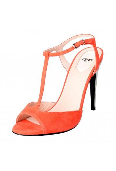 Fendi Women's Suede Open Toe T-Strap High Heels Sandals Shoes