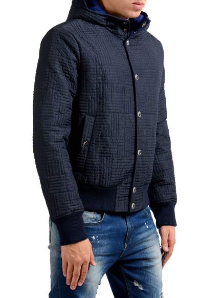 Versace Collection Men's Blue Button Up Lightly Insulated Hooded Windbreaker: Picture 2