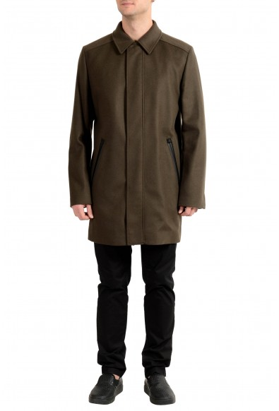 """Hugo Boss """"Marec1842"""" Men's Wool Cashmere Green Full Zip Coat"""
